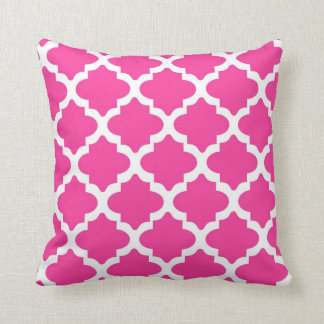 Hot Pink And White Quatrefoil Throw Pillow
