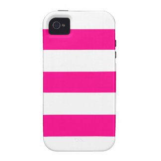 Hot Pink and white Stripes iPhone 4 Cases