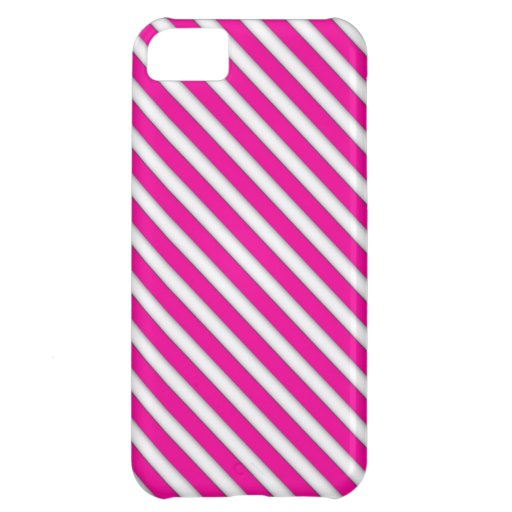 Hot Pink and White Stripes iPhone 5C Case