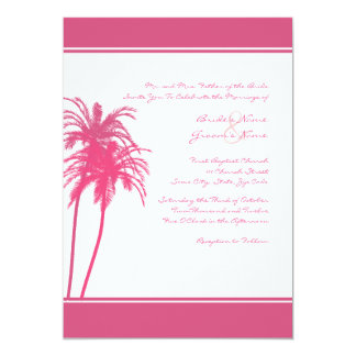 Hot Pink and White Tropical Palms Invitation