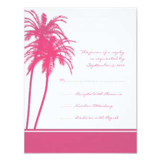 Hot Pink and White Tropical Palms Invitation RSVP