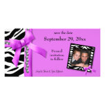 Hot Pink And White Zebra Gems Save The Date Card Photo Card