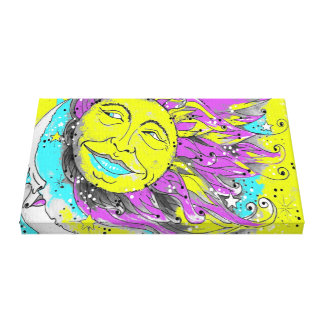 Hot Pink and Yellow Sun and Moon Canvas Print