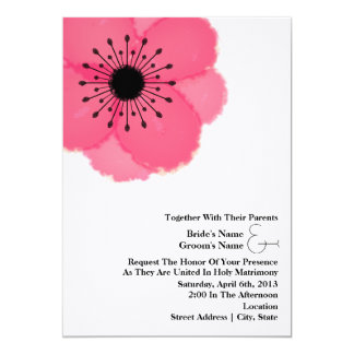Hot Pink Anemone Wedding: Together With Parents Card
