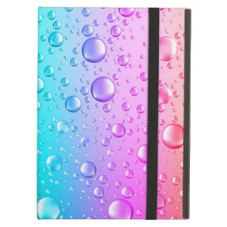 Hot Pink & Aqua Blue Gradient Water Droplets Cover For iPad Air