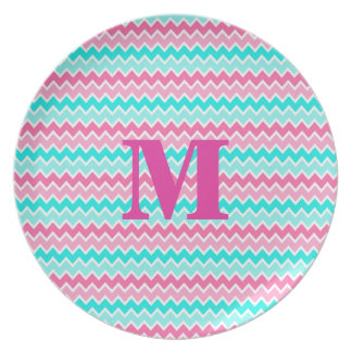 Hot Pink Aqua Turquoise Blue Ombre Chevron Party Plate