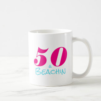 Hot Pink Aquamarine 50 & Beachin Coffee Mug