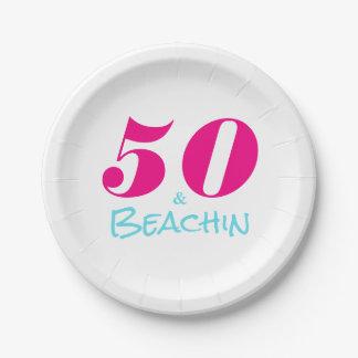 Hot Pink Aquamarine 50 & Beachin Paper Plate