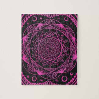 Hot Pink, Awakening zen pattern, healing, chakra Jigsaw Puzzle