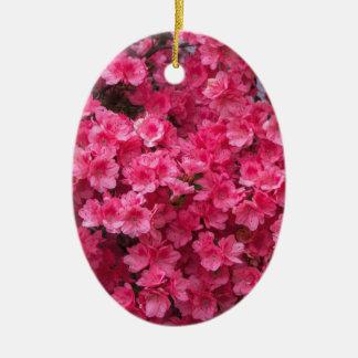 Hot Pink Azalea Blossoms Ceramic Oval Ornament