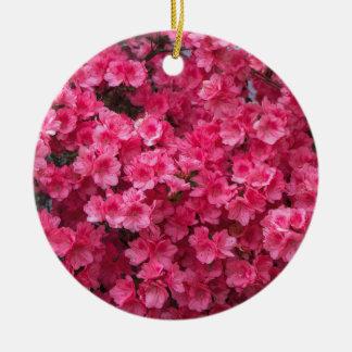 Hot Pink Azalea Blossoms Round Ceramic Ornament