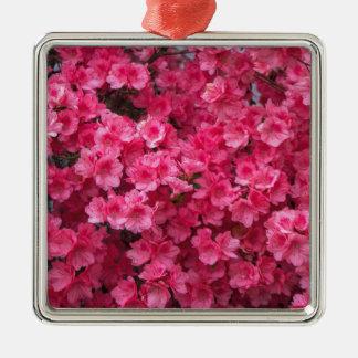 Hot Pink Azalea Blossoms Silver-Colored Square Ornament