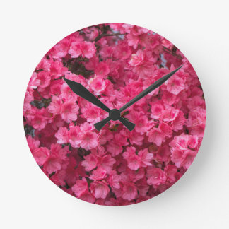 Hot Pink Azalea Blossoms Wallclocks
