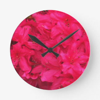 Hot Pink Azalea Flowers Round Clock
