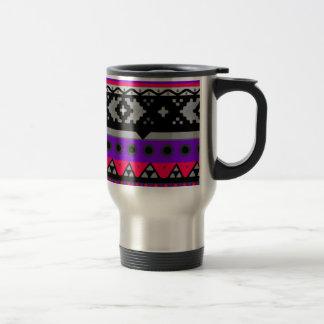 hot pink aztec pattern travel mug