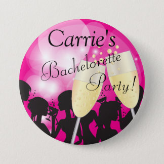 Hot Pink - Bachelorette Diva Girls Night Out 3 Inch Round Button