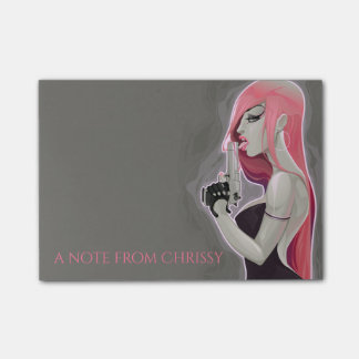 Hot Pink Bad Girl 4x3 Post-it Notes
