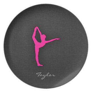 Hot Pink Ballet Dancer Party Plate