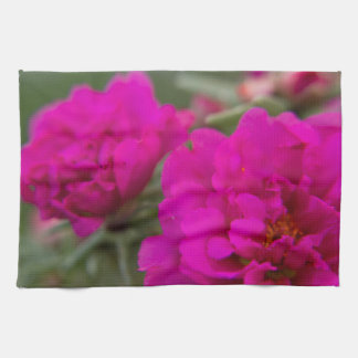 Hot pink begonia flowers kitchen towel
