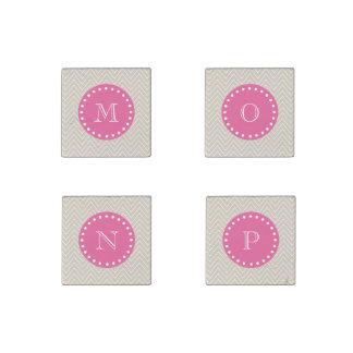 Hot Pink, Beige Chevron | Your Monogram Stone Magnets