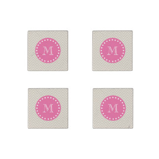 Hot Pink, Beige Chevron | Your Monogram Stone Magnet