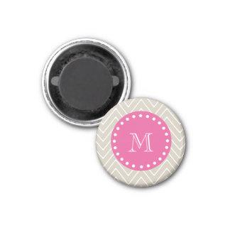 Hot Pink, Beige Chevron | Your Monogram Magnet