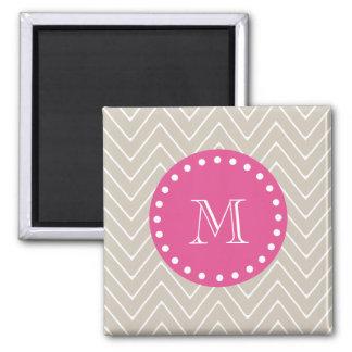 Hot Pink Beige Chevron Your Monogram Refrigerator Magnets
