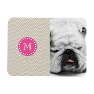 Hot Pink Beige Chevron Your Monogram Rectangular Magnet