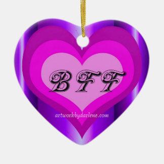 hot pink BFF Ceramic Heart Ornament