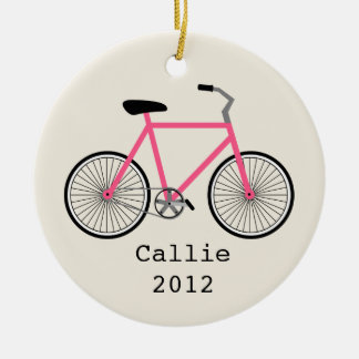 Hot Pink Bicycle Personalized Ornament
