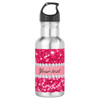 Hot Pink Big Faux Glitter with Diamonds 532 Ml Water Bottle