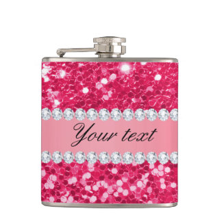 Hot Pink Big Faux Glitter with Diamonds Flasks