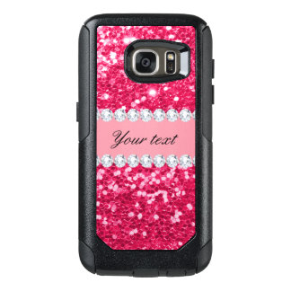 Hot Pink Big Faux Glitter with Diamonds OtterBox Samsung Galaxy S7 Case