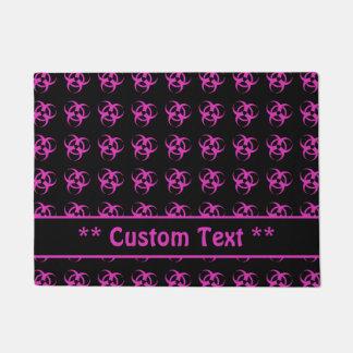 Hot Pink Biohazard Symbol Pattern w/ Custom Text Doormat