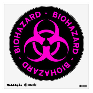 Hot Pink Biohazard Warning Sign Wall Decal