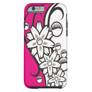 Hot Pink Black And White Floral Pattern Tough iPhone 6 Case