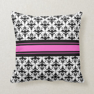 Hot Pink, Black and White French Damask Throw Pillow