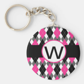 """Hot Pink & Black Argyle Monogram Keychain """"W"""""""