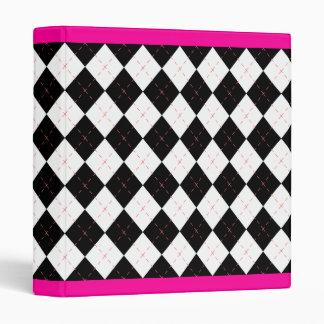 Hot Pink Black Argyle  Retro Binder Scrapbook