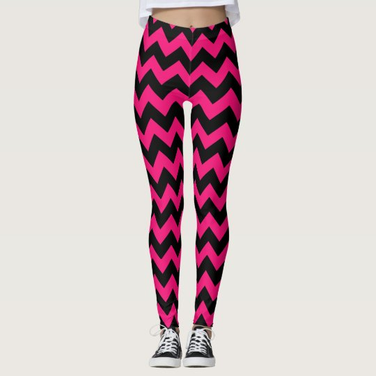 Hot Pink Black Chevron Pattern Legging