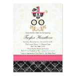 """HOT PINK BLACK DAMASK BABY CARRIAGE BABY SHOWER 5"""" X 7"""" INVITATION CARD"""
