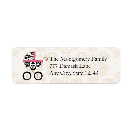 HOT PINK BLACK DAMASK BABY CARRIAGE RETURN ADDRESS RETURN ADDRESS LABEL