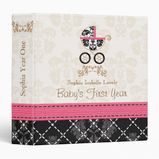 Hot Pink Black DAMASK Carriage Baby Photo Album Binders