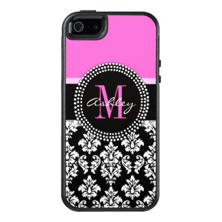 Hot Pink Black Damask Monogrammed OtterBox iPhone 5/5s/SE Case