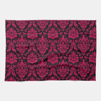 Hot Pink Black Damask Pattern Kitchen Towel