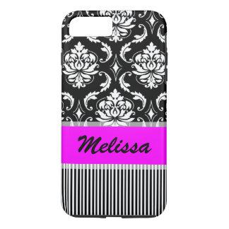 Hot Pink, Black Damask Striped Monogram iPhone 7 Plus Case