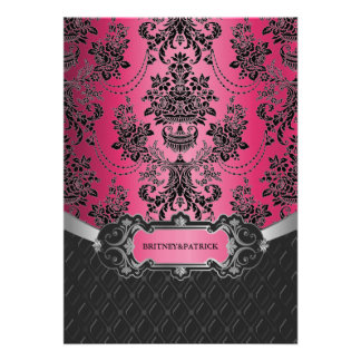 Hot Pink Black Damask Wedding Invitations