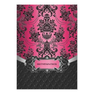 Hot Pink & Black Damask Wedding Invitations