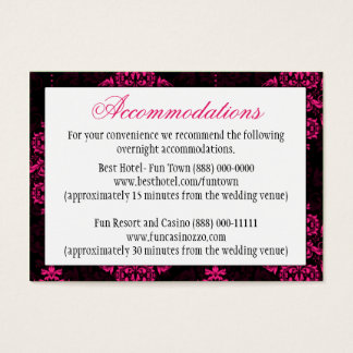 Hot Pink Black Damask Wedding Reception Cards