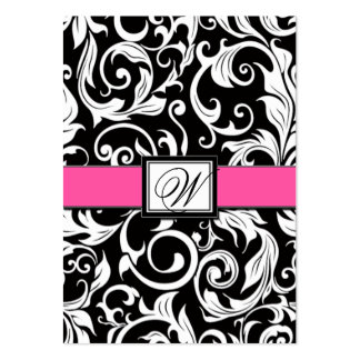 Hot Pink & Black Damask Wedding Reception Cards Business Card Template